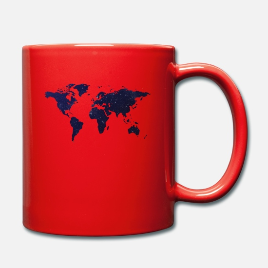 Sky Mugs & Drinkware - World map - night sky - Mug red