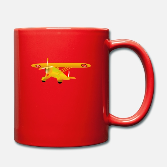 Airplane Mugs & Drinkware - airplane airplane plane hot air balloon air ba - Mug red