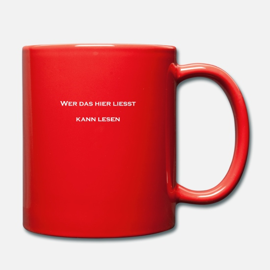 Take The Piss Out Mugs & Drinkware - Who reads this? - Mug red