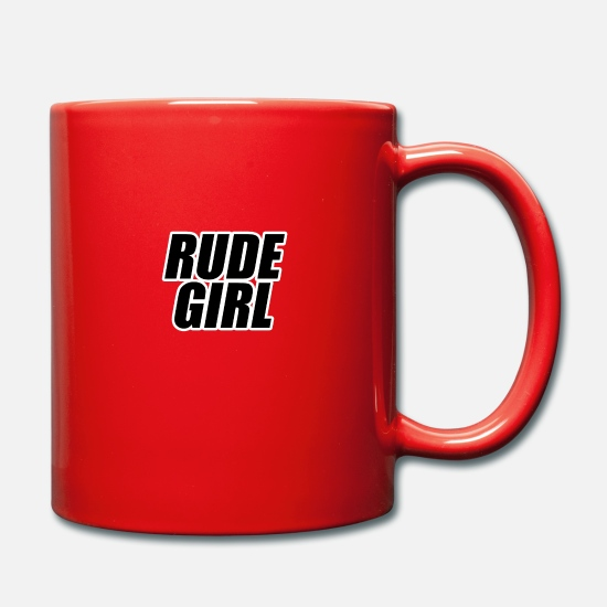Typography Mugs & Drinkware - Rude girl black with white outline - Mug red