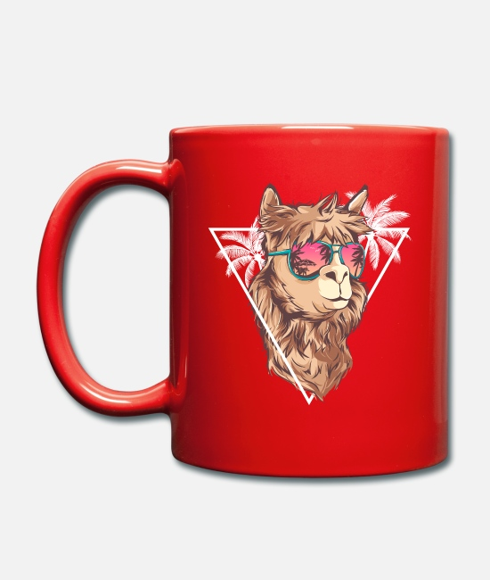 Summer Mugs & Drinkware - Summer Llama with Sunglasses - Llama Gift - Mug red