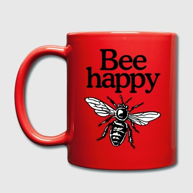 Bee Happy Beekeeper Quote Design (two-color) - Taza de un color