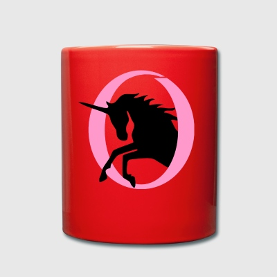 Unicorn jumps out of a circle in two colors - Full Colour Mug
