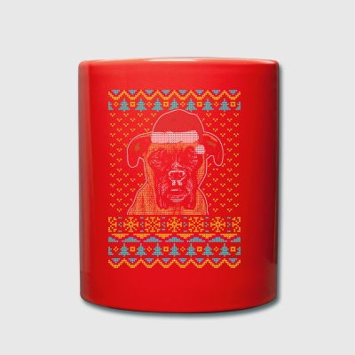 Boxer Ugly Christmas Sweater Geschenk - Tasse einfarbig