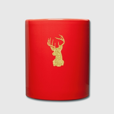 Deer Head Glitter Gold Rudolf Red Nosed Reno - Taza de un color