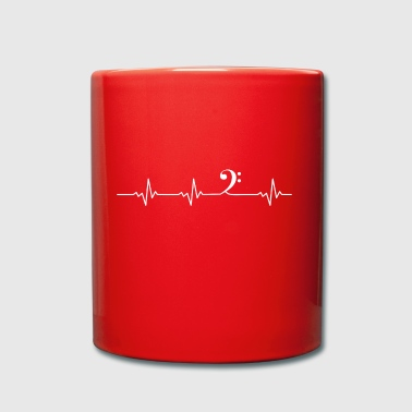 Heartbeat bass clef - Full Colour Mug