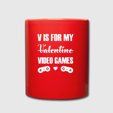 V For Video Games gift for Video Game Lovers - Full Colour Mug