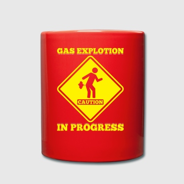 Caution Sign Gas Explosion In Progress Fart Funny - Full Colour Mug