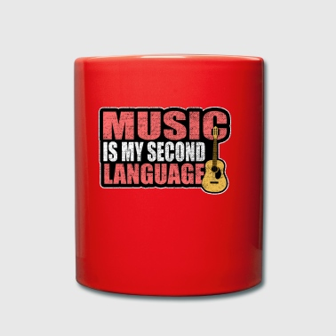 Music is my second language guitar vintage - Full Colour Mug