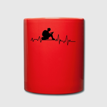 Heartbeat Reading T-Shirt Gift Bookish Book - Full Colour Mug
