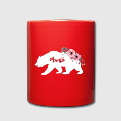 Floral Auntie Bear.Gifts for Auntie. Camping gifts - Full Colour Mug