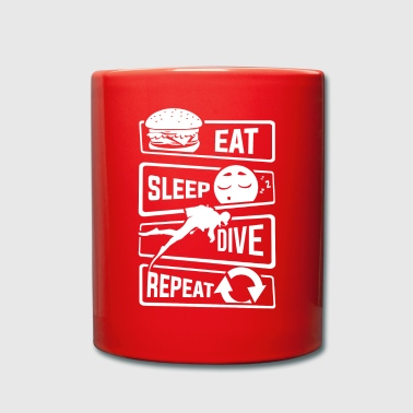 Eat Sleep Dive Repeat - Diver Diving Sea Lake - Full Colour Mug