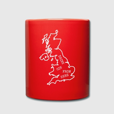 Drink English Gin. Gifts for Drink Lovers. UK Map - Full Colour Mug