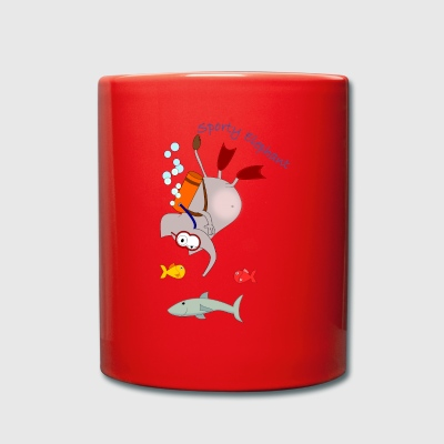 Sporty Elephant - elephant diving - Full Colour Mug