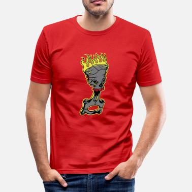 Skull Piston Piston - Burning Piston with Skull - Men's Slim Fit T-Shirt