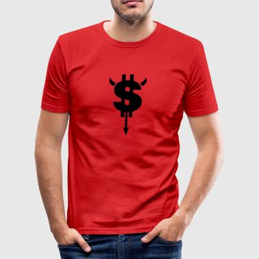 Arrow Pointing Down Devil Dollar Sign - Men's Slim Fit T-Shirt
