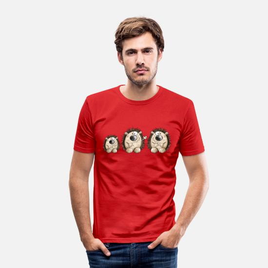 Family T-Shirts - Hedgehog Family - Men's Slim Fit T-Shirt red