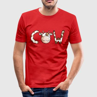 Funny Cow Typeface - Cows - Cartoon - Gift - Men's Slim Fit T-Shirt