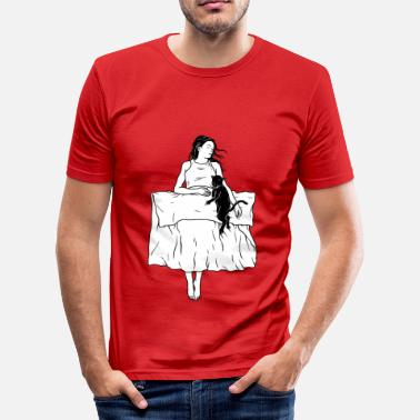 Line Drawing Woman and cat in bed. Cat mom Cat Lady - Men's Slim Fit T-Shirt