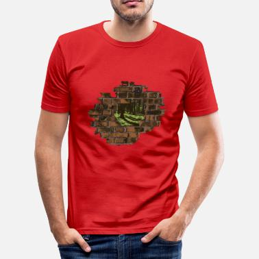 Decay Decayed wall with forest view - Men's Slim Fit T-Shirt