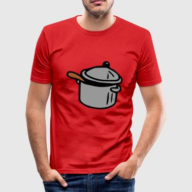 Cooking Pot pot with spoon, gift cook - Men's Slim Fit T-Shirt