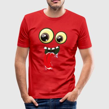 Loopy Eyes with mouth and tongue - Men's Slim Fit T-Shirt
