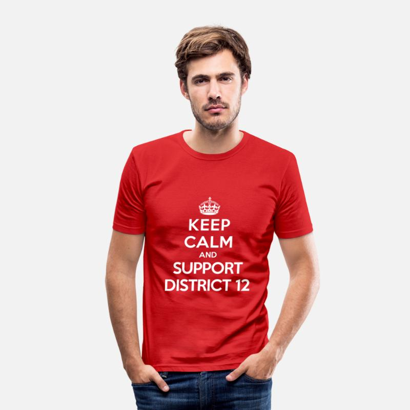 Hunger T-shirts - Keep calm and support District 12 (Hunger Games) - T-shirt moulant Homme rouge
