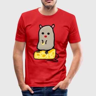 Mouse Cheese Mr. Mouse / mouse with cheese - Men's Slim Fit T-Shirt