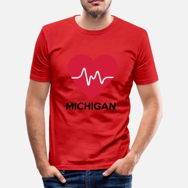 Michigan coeur Michigan - T-shirt près du corps Homme