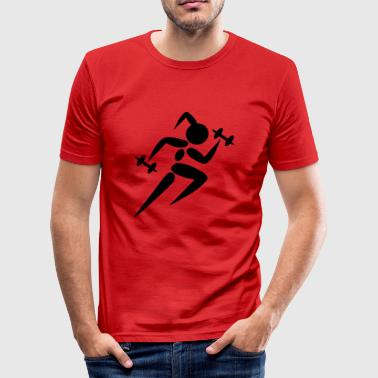 Woman dumbbell dumbbell workout GYM - Men's Slim Fit T-Shirt