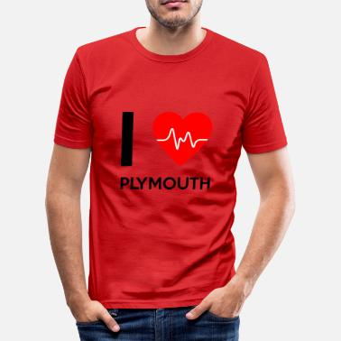 Plymouth I Love Plymouth - Ich liebe Plymouth - Männer Slim Fit T-Shirt