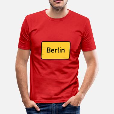 Street Sign Street sign Berlin town sign - Men's Slim Fit T-Shirt