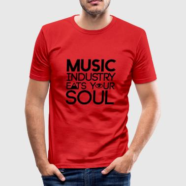 Zeichen Schmutzig Music Industry eats your soul - Illuminati - Männer Slim Fit T-Shirt