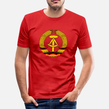 East Germany East Germany Crest Flag Wreath GDR DDR Emblem - Men's Slim Fit T-Shirt