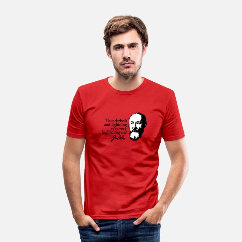 Quotes T-Shirts - Galileo - Thunderbolt and lightning very... 2clr - Men's Slim Fit T-Shirt red