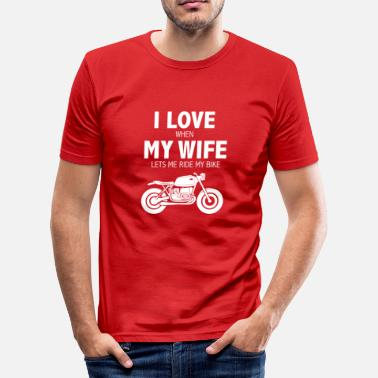 Biker Wife Love my wife when she lets me ride by bike biker - Men's Slim Fit T-Shirt