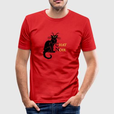 chat noir 'n (text, 2c) - Men's Slim Fit T-Shirt