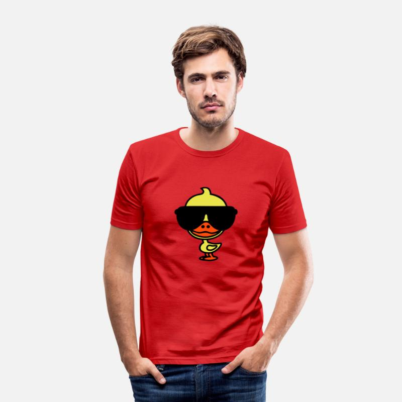 Cool T-Shirts - Cool eend - Mannen slim fit T-shirt rood