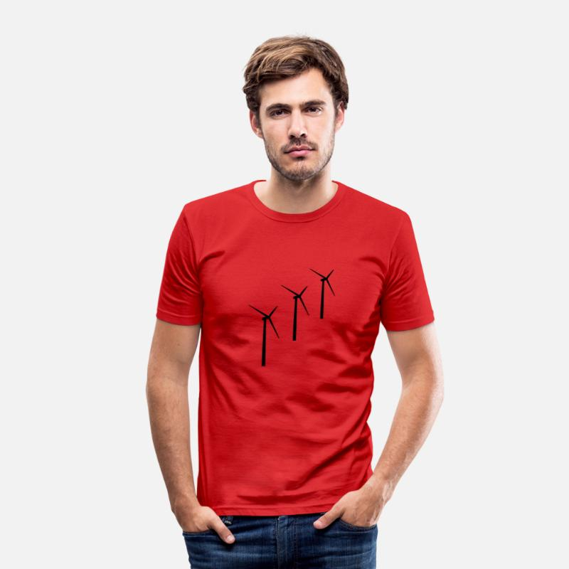 Energy T-Shirts - 3 wind turbines wind energy - Men's Slim Fit T-Shirt red