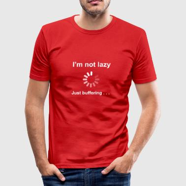 Science I'm Not Lazy - I'm Buffering (White) - Men's Slim Fit T-Shirt