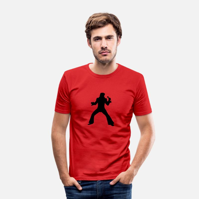 Elvis Presley T-Shirts - Elvis - Mannen slim fit T-shirt rood