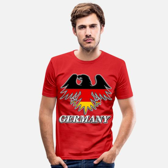 Flag Of Germany T-Shirts - germany eagle t-shirt german flag tshirt tee - Men's Slim Fit T-Shirt red