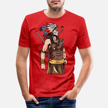 Sioux Indian Warrior USA America Wild West Siox - Maglietta slim fit uomo