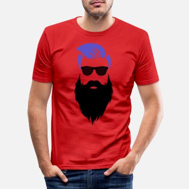 Stylish Stylish hipster with a beard and sunglasses - Men's Slim Fit T-Shirt