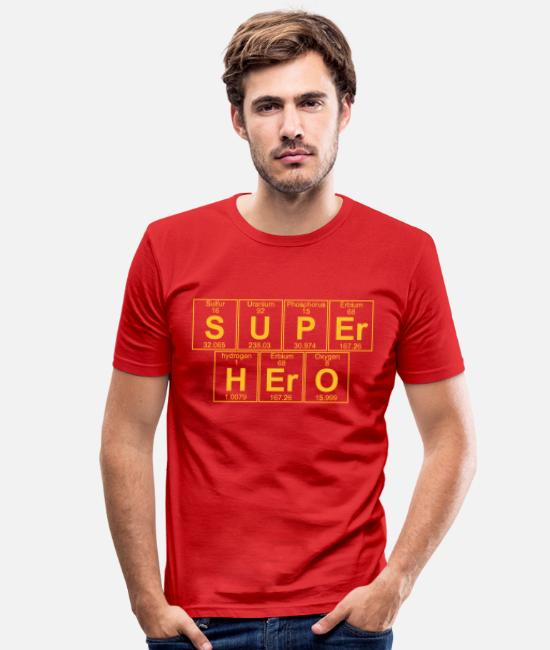 Periodic Table T-shirts - S-U-P-Er H-Er-O (super hero) - Full - T-shirt moulant Homme rouge