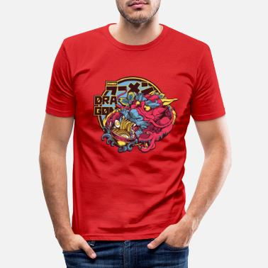 Ramen dragon eats noodles cool asian dragon - Men's Slim Fit T-Shirt