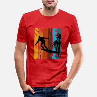 Poster Surfer Retro Poster Design 70s - Mannen slim fit T-shirt