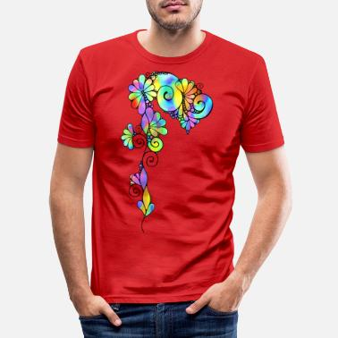 Circular Sketching Art - Fantasy Flower 3 - Men's Slim Fit T-Shirt