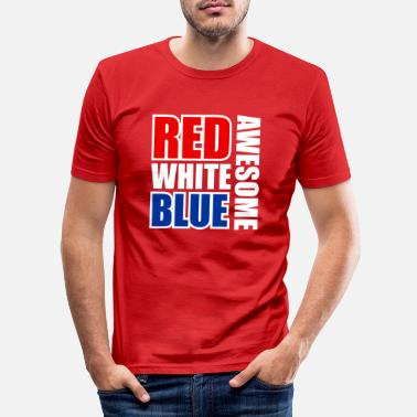 Blue Red White Blue Awesome - Men's Slim Fit T-Shirt