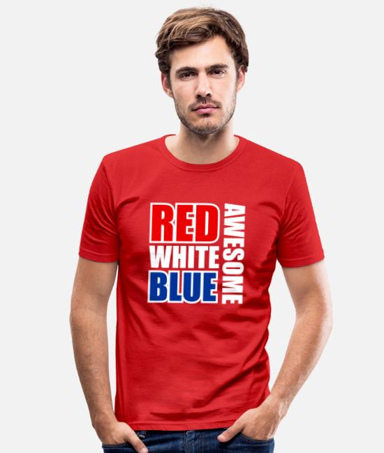 Red T-Shirts - Red White Blue Awesome - Men's Slim Fit T-Shirt red